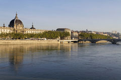 Rhone river banks and Hotel-Dieu in Lyon Royalty Free Stock Photography