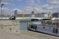 Rhone river banks in Lyon Stock Photography
