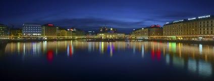 Rhone river and bridge in Geneva, Switzerland, HDR Royalty Free Stock Image