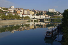 Rhone river and Croix-Rousse hill. Royalty Free Stock Images