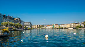 Rhone River flowing out of Lake Geneva Stock Photography