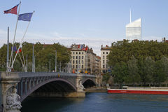 Rhone river and Incity Tower Royalty Free Stock Photo