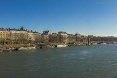 Rhone River Lyon Frankrike Arkivfoto
