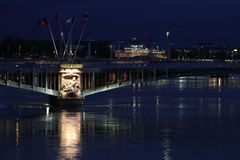 Rhone river in Lyon by Night Royalty Free Stock Images
