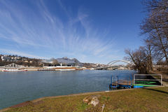 Rhone river and Musee des Confluences Royalty Free Stock Photography
