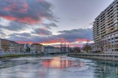 Rhone river, Sous-Terre bridge and buildings Stock Images