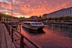 Geneva, Switzerland, the banks of the Rhone stock photography