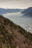 Rhone valley and Martigny town - Switzerland. Stock Photo