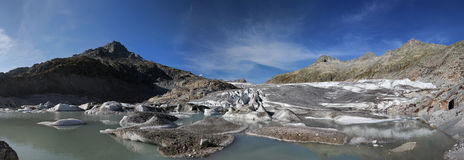 Rhoneglacier. And calving ice in Switzerland stock images