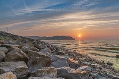 Rhos-on-Sea, Conwy, Clwyd, Wales, UK. Sunset over the Welsh coast in Rhos-on-Sea, Conwy, Wales, UK royalty free stock photos