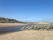Rhosneigr, Anglesey. Beach scene, sand, water and Stock Photo