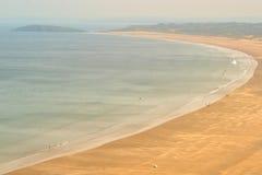 Rhossili海滩在威尔士 库存照片