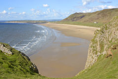 Rhossili Bay on the Gower Peninsular, Wales, UK Royalty Free Stock Photos