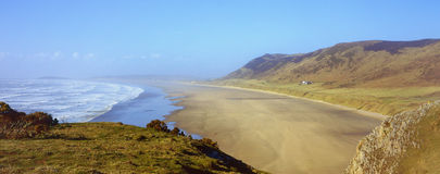 Rhossili Bay panorama Royalty Free Stock Photo