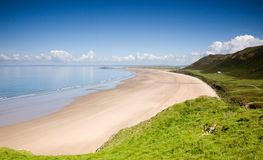 Rhossili Bay and peninsula stock images