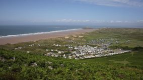 Rhossili beach and coast The Gower peninsula South Wales UK stock video