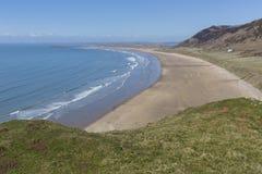 Rhossili-Bucht, Gower Peninsula Stockfotos
