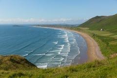 Rhossili strand den Gower halvön södra Wales en av de bästa stränderna i UK Arkivbilder