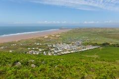Rhossilikust Gower South Wales het UK in de zomer Stock Afbeelding