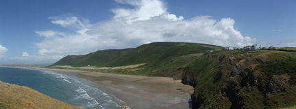 Rhossilli Bay. Panorama of Rhossilli Bay in Gower South Wales Royalty Free Stock Photography