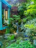 RHS切尔西花展2017年 没有墙壁,没有战争 金牌赢取的工匠庭院日本主要Kazuyki石原 免版税库存照片