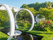 RHS Chelsea Flower Show 2017. The Breast Cancer Now Garden: Through the Microscope. LONDON, UK - MAY 25, 2017: RHS Chelsea Flower Show 2017. The Breast Cancer Stock Photos
