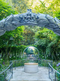 RHS Chelsea Flower Show 2017. The CWGC Centenary Garden. LONDON, UK - MAY 25, 2017: RHS Chelsea Flower Show 2017. The CWGC Centenary Garden. A reflective garden Royalty Free Stock Image