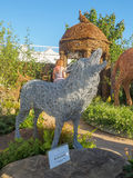 RHS Chelsea Flower Show 2017. Emma Stothard display with life-sized sculptures of animals and birds made of willow and bronze wire. LONDON, UK - MAY 25, 2017 Royalty Free Stock Images
