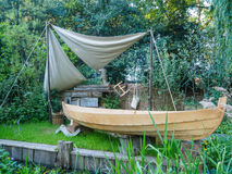 RHS Chelsea Flower Show 2017. The IBTC Lowestoft: Broadland Boatbuilder's Garden. stock photos