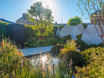 RHS Chelsea Flower Show 2017. The Jeremy Vine Texture Garden. LONDON, UK - MAY 25, 2017: RHS Chelsea Flower Show 2017. The Jeremy Vine Texture Garden. Smooth Royalty Free Stock Photo