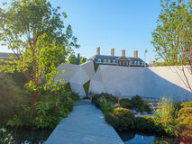 RHS Chelsea Flower Show 2017. The Jeremy Vine Texture Garden. LONDON, UK - MAY 25, 2017: RHS Chelsea Flower Show 2017. The Jeremy Vine Texture Garden. Smooth Stock Images