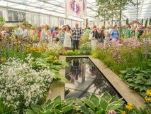 RHS Chelsea Flower Show 2017 Världs`en s mest prestigefull blomsterutställning som visar det bästa i trädgårds- design arkivbilder