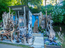 RHS Chelsea Flower Show 2017. Woodenzone organic wooden art display. LONDON, UK - MAY 25, 2017: RHS Chelsea Flower Show 2017. Woodenzone organic wooden art Royalty Free Stock Images