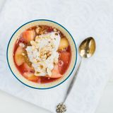 Rhubarb and apple compote with coconut yogurt and oatmeal Royalty Free Stock Photo