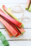 Rhubarb on the boards Stock Images