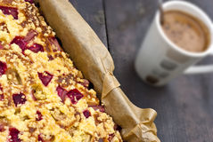 Rhubarb cake. Delicious rhubarb pie with streusel Stock Image