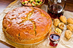 Rhubarb cake with nutts. Fresh rhubarb cake with nutts and honey Stock Photos