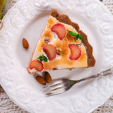 Rhubarb cakes with meringue and almonds Stock Photos