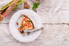 Rhubarb cakes with meringue and almonds Royalty Free Stock Photo