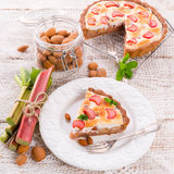 Rhubarb cakes with meringue and almonds Royalty Free Stock Photos
