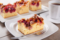 Rhubarb cherry cake. Picture of a rhubarb cherry cake with a cup of coffee Stock Photography