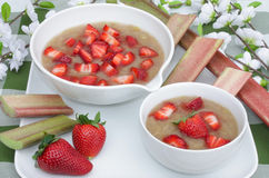 Rhubarb compote and strawberries Royalty Free Stock Image