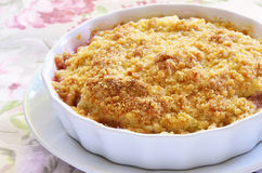 Rhubarb crumble. Old fashioned rhubarb crumble in white dish Stock Photos