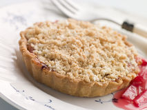Rhubarb Crumble Tart. On a plate stock images