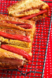 Rhubarb and custard cakes. On a red background Stock Image