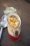 Rhubarb dessert in glass pot Stock Image