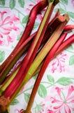 Rhubarb. Fresh rhubarb petioles on the table Royalty Free Stock Image