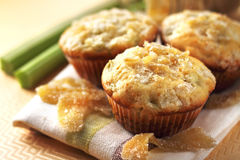 Rhubarb and ginger muffins. Rhubarb and sugared ginger muffins stock image