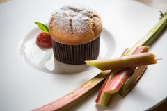 Rhubarb and ginger muffins Royalty Free Stock Images