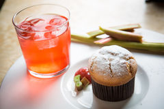 Rhubarb and ginger muffins Stock Image